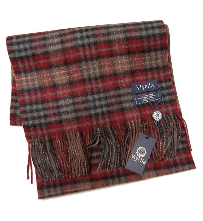 Red and Chestnut Plaid Wool and Cashmere Scarf by Viyella