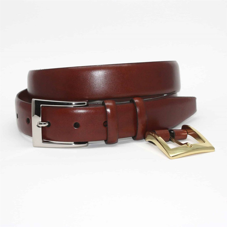 Italian Calfskin Double Buckle Option Belt in Chili by Torino Leather Co.