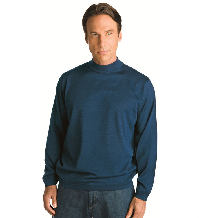 Techno-Cotton Mock Turtleneck in Navy by St. Croix