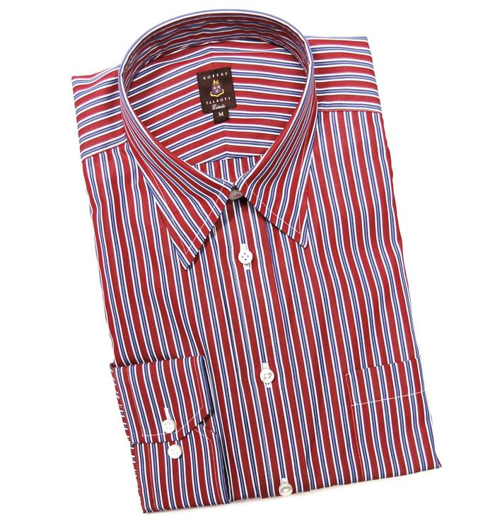 Red and Navy Stripe Estate Sport Shirt (Size Medium) by Robert Talbott