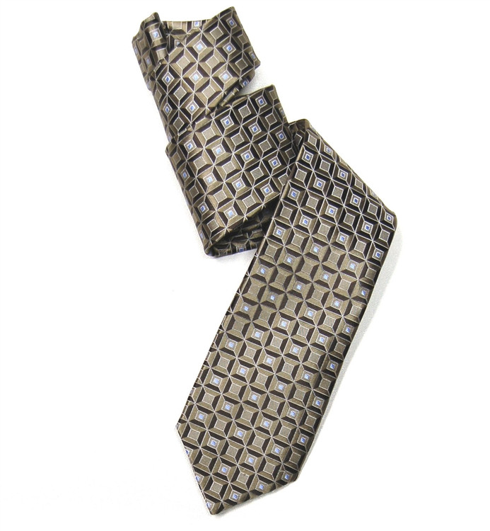 Brown and Sky Geometric Squares Woven Silk Tie by Robert Jensen