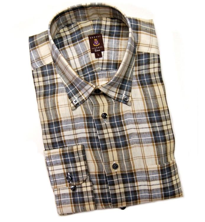 Grey and Tan Plaid Linen Estate Sport Shirt by Robert Talbott