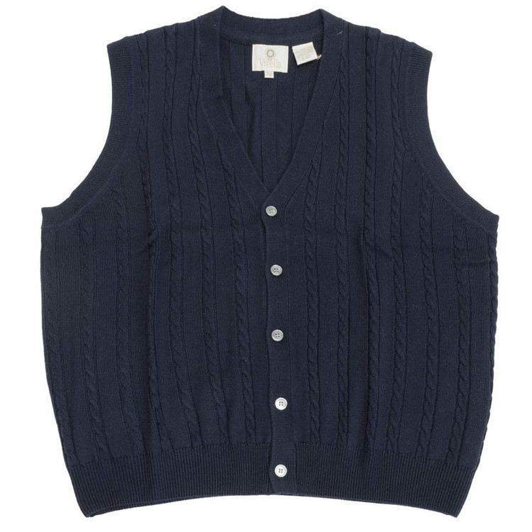 Merino Wool Cable Knit V-Neck Sweater Vest in Navy by Viyella
