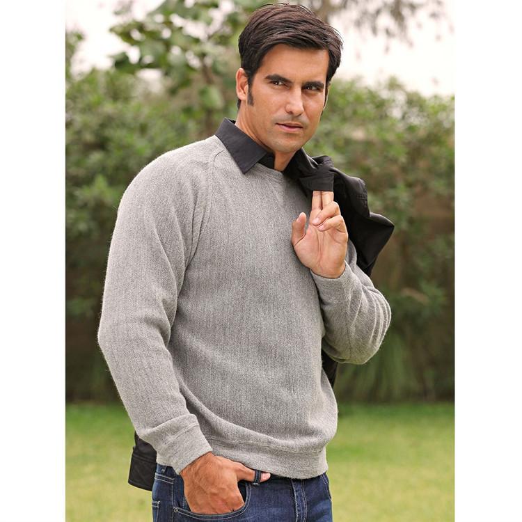 Baby Alpaca Link Stitch Sweatshirt Style Sweater in Light Grey Heather by Peru Unlimited