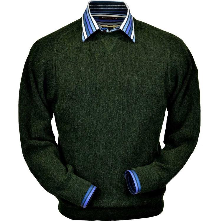 Baby Alpaca Link Stitch Sweatshirt Style Sweater in Hunter Green Heather by Peru Unlimited