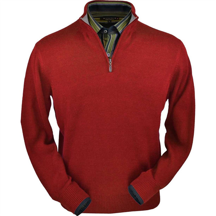 Royal Alpaca Half-Zip Sweater in Red by Peru Unlimited