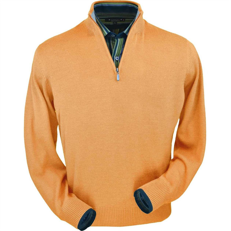Royal Alpaca Half-Zip Sweater in Melon Heather by Peru Unlimited