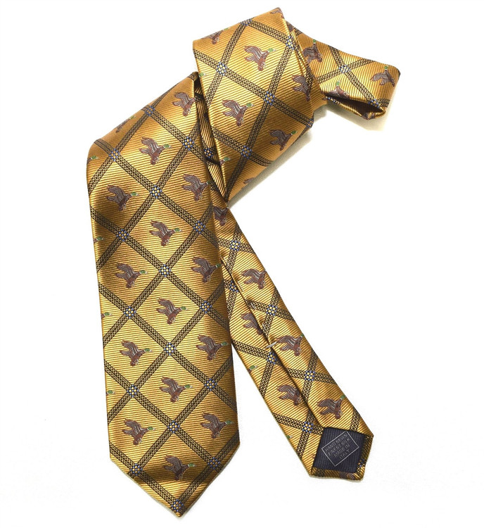 Gold and Brown Flying Duck Woven Silk Club Tie by Robert Jensen