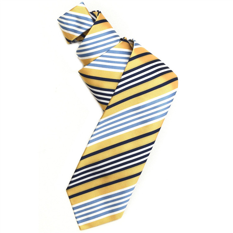 Butter Yellow, Navy, Sky, and White Silk Faille Repp Tie by Robert Jensen