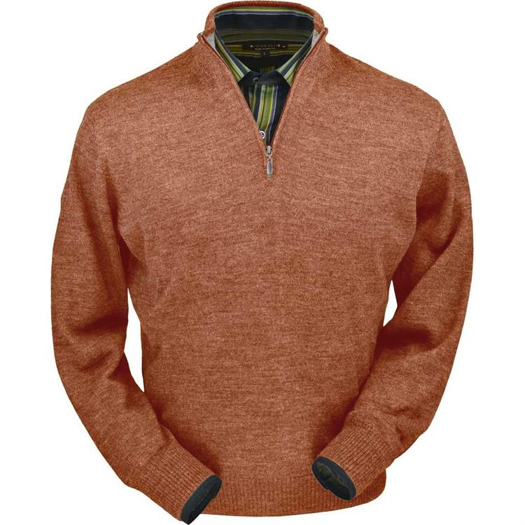 Royal Alpaca Half-Zip Sweater in Soft Brick Heather by Peru Unlimited
