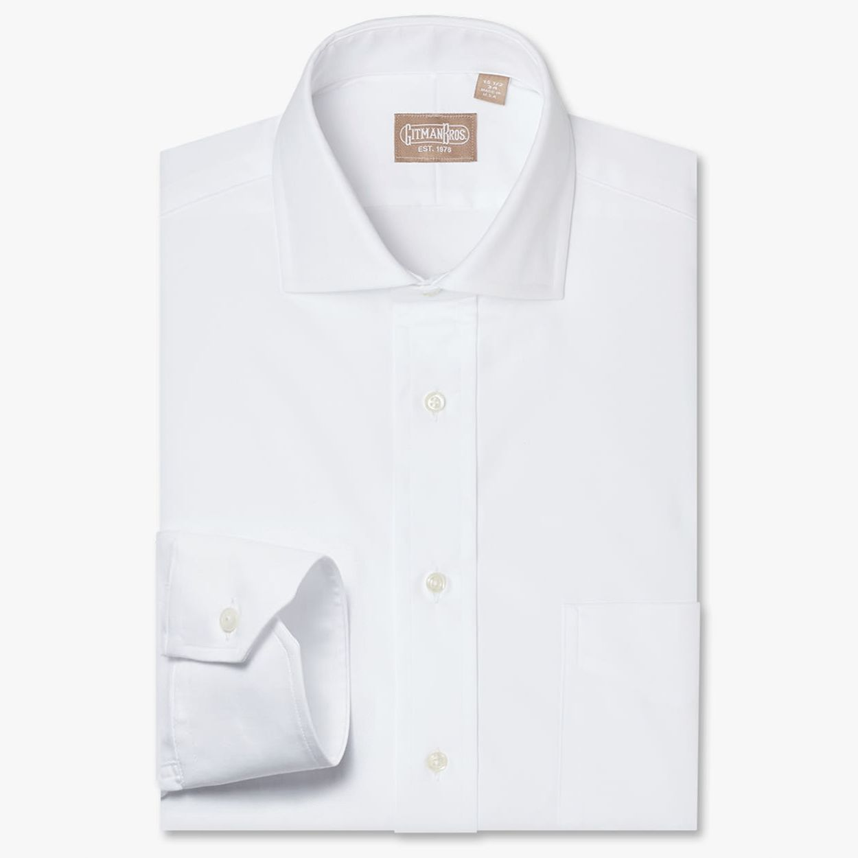 100s 2 Ply Pinpoint Dress Shirt With Wide Spread Collar In White