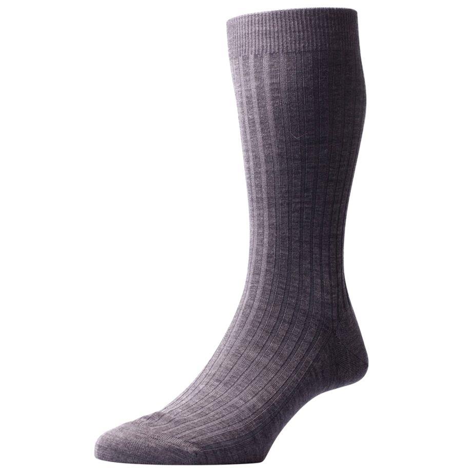 Pantherella Danvers Rib Over the Calf Cotton Lisle Socks Dark Grey Mix
