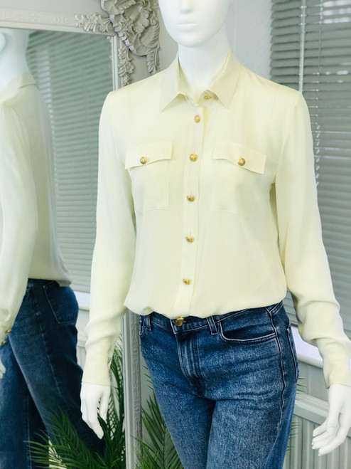 Balmain Silk Gold Button Shirt, Swoon Love Sale. Pre-Owned Designer Collections.