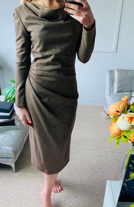 Alexander McQueen Brown Tweed Midi Dress. Pre Owned Designer