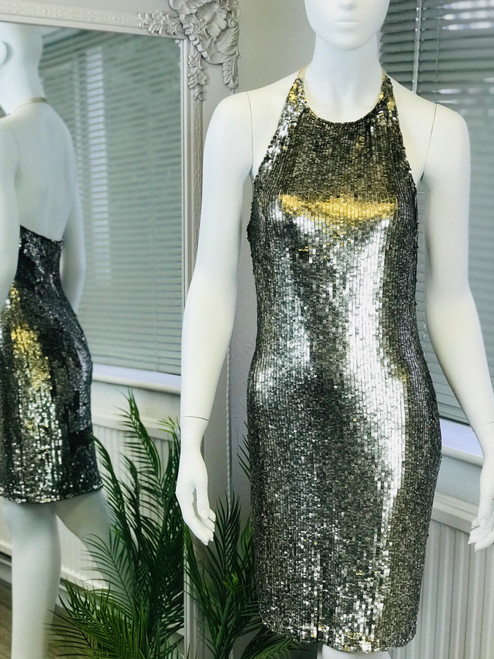 Alice & Olivia Sequin Halterneck Mini Dress