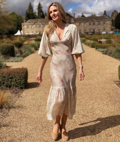 Ilta Blurred Floral Silk Maxi Dress