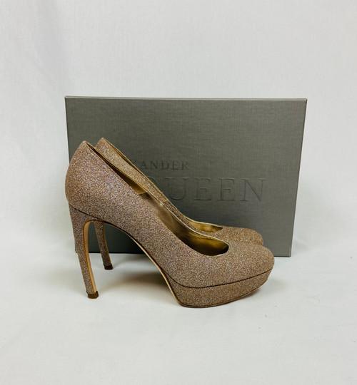 Alexander McQueen Champagne Glitter Heels