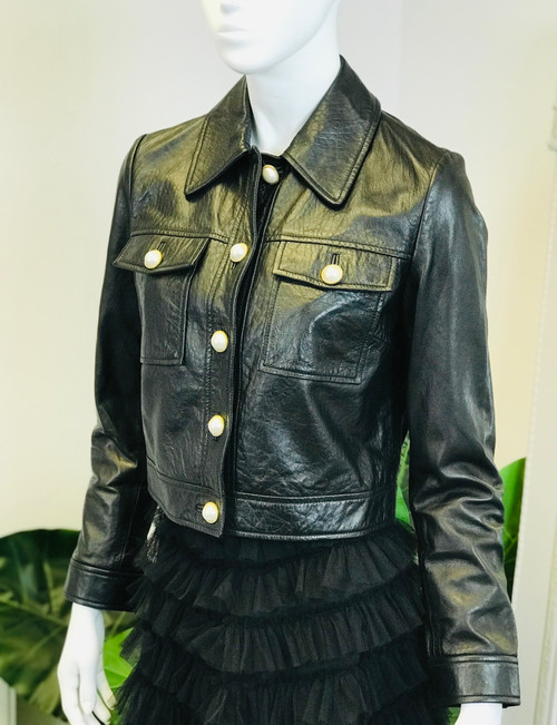 Uterque Pearl Button Leather Jacket (M)