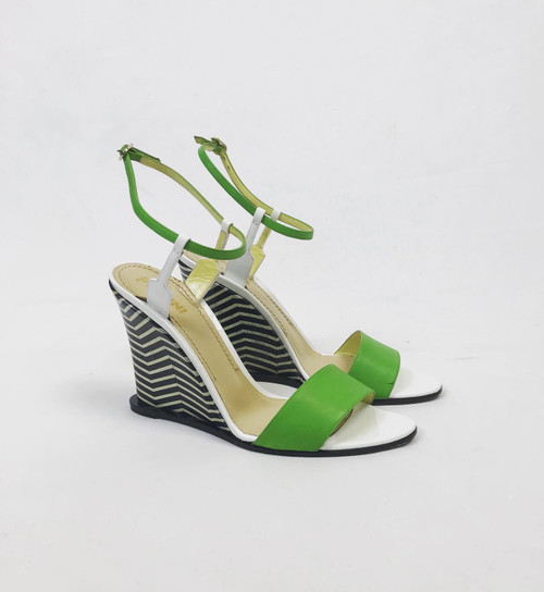 Pollini Stripe Wedge Sandals