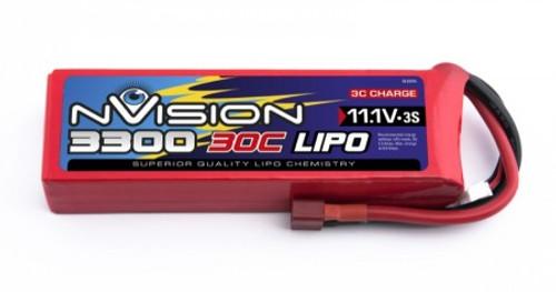 nVision Lipo 3300mah 11.1v 20c 3s Cells: 3 (11.1v) C-rating: 20C Plug: Deans