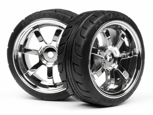 HPI 4738 - Mounted T-GRIP Tyre 26mm Rays 57S-Pro Wheel Chrome