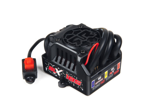 The included BLX185 150A waterproof ESC provides consistent power control and is 6S LiPo ready.   Fitted with super-reliable XT-90 connectors and sporting a built-in cooling fan for reduced heat during intense driving action, the BLX185 ESC has over voltage protection, and a two-stage LiPo cut off for added cell management.   The fitted 10AWG high-quality wires and 6V BEC unit are combined with a three mode throttle profile (FWD/REVERSE/BRAKE) to provide the ultimate driving experience.   Recommended battery specification: 5000mAh - 35C minimum - Per battery pack