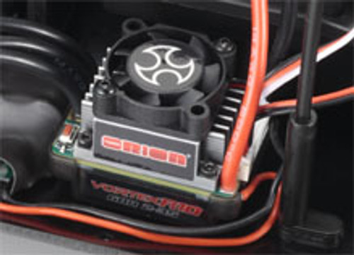 Pre-installed Orion Vortex R10 Sports ESC with cooling fan features a simple waterproof structure and auto setup function. Compatible with 3-cell Li-Po.