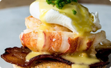 Butter Poached Lobster Benedict with Bacon
