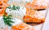 Salmon Baked with Santa Monica Seafood Dill Sauce