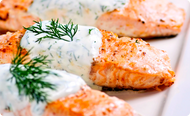 Salmon Baked with Santa Monica Seafood Dill Sauce