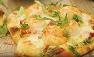 Shrimp and Pesto Naan Pizza