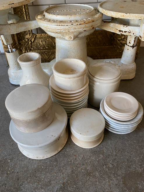 English ironstone, paste pots