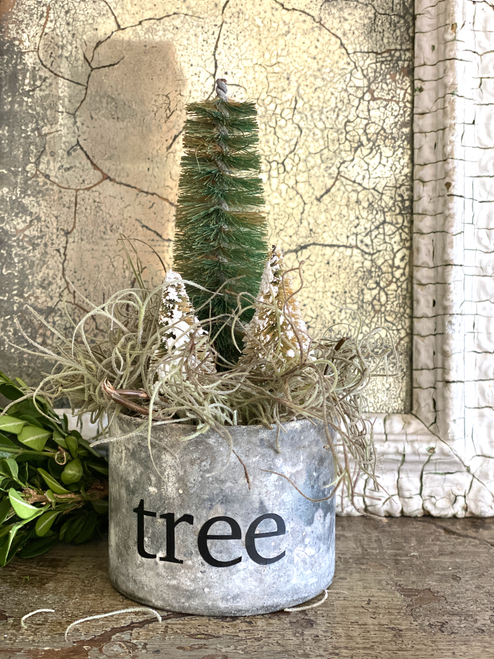 Old Zinc Tin of Vintage Trees-Sold