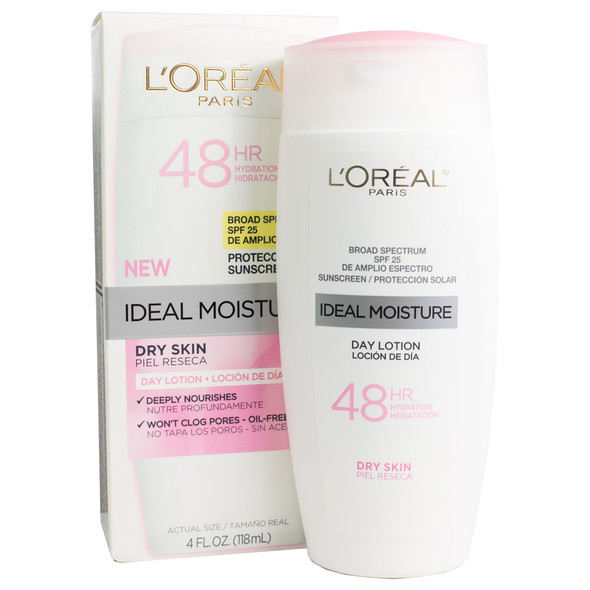 Loreal Ideal Moisture Day Lotion for Dry Skin SPF25 - 4 Fl Oz.