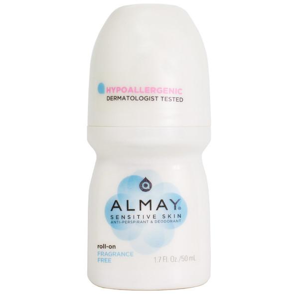 Almay Roll-On Anti-Perspirant & Deodorant for Sensitive Skin, Fragrance Free 1.7 fl oz