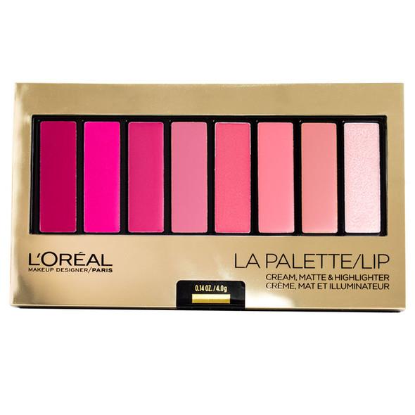 Loreal La Palette Lip 8-Pan Lipcolor Palette, Pink