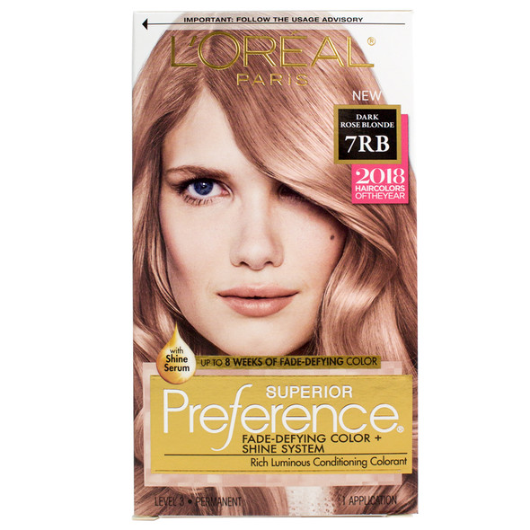 Loreal Superior Preference Fade Defying Color + Shine System - 7RB Dark Rose Blonde