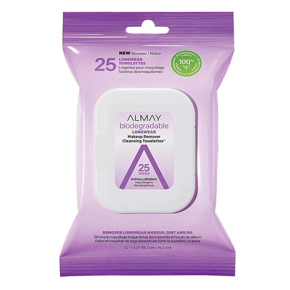 Almay Biodegradable Longwear Makeup Remover Cleansing Towelettes - 25ct