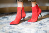 Carmen - Red Suede Ankle Boots