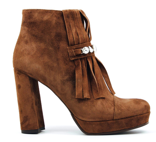 Alcee - Brown Fringe Ankle Boots