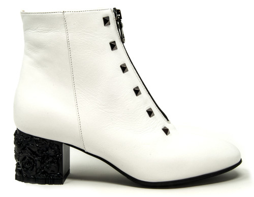 Guila White Leather Bootie
