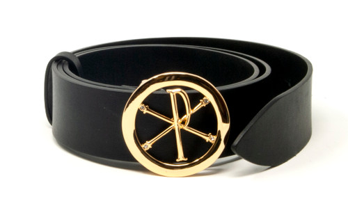 Leather Belts Gold Buckle