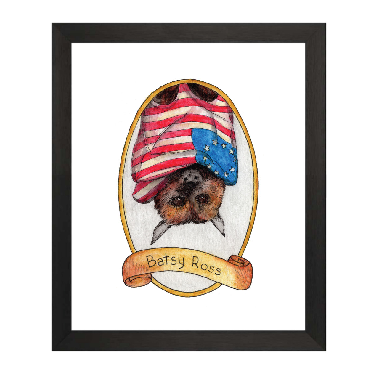 image about Betsy Ross Printable Pictures identified as Batsy Ross / Betsy Ross PreZOOdents Artwork Print