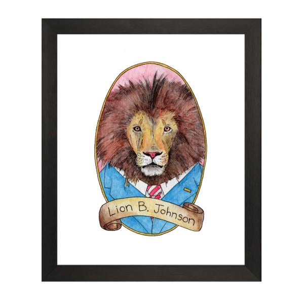 Lion B Johnson / Lyndon B Johnson PreZOOdents Art Print