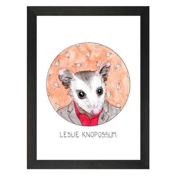 Leslie Knopossum / Leslie Knope / Parks & Recreation Petflix Art Print