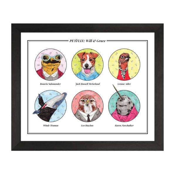 Will & Grace Petflix Group Art Print