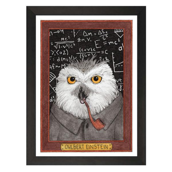 Owlbert Einstein / Albert Einstein / Wild Idols Art Print