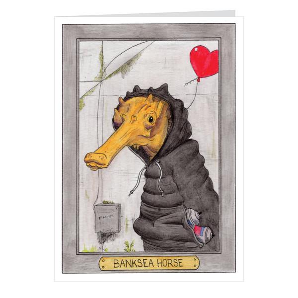 Banksea Horse Zooseum Greeting Card - Punny Animal Artist - Banksy