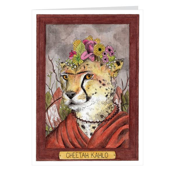 Cheetah Kahlo Zooseum Greeting Card - Punny Animal Artist - Frida Kahlo