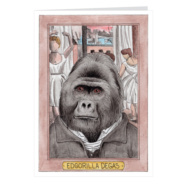 Edgorilla Degas Zooseum Greeting Card - Punny Animal Artist - Edward Degas